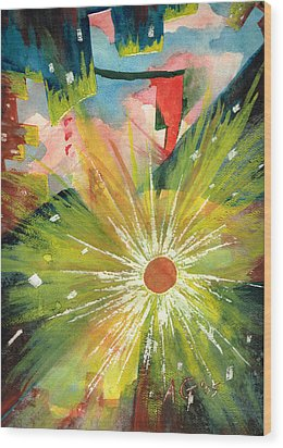 Wood Print featuring the painting Urban Sunburst by Andrew Gillette