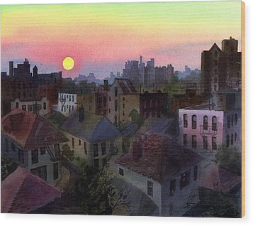 Urban Sunset Wood Print