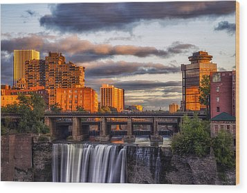 Urban Waterfall Wood Print