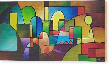 Urbanity 2 Wood Print by Sally Trace