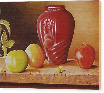 Wood Print featuring the painting Urn An Apple by Gene Gregory