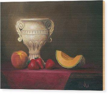 Urn With Fruit Wood Print by Joe Winkler