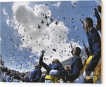 U.s. Air Force Academy Graduates Throw Wood Print by Stocktrek Images