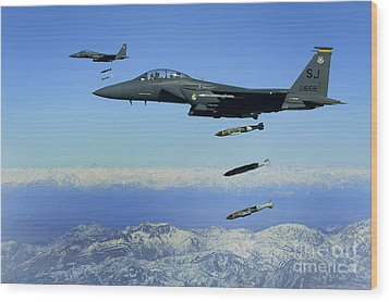 U.s. Air Force F-15e Strike Eagle Wood Print by Stocktrek Images