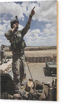 U.s. Air Force Member Calls For Air Wood Print by Stocktrek Images