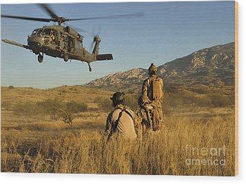 U.s. Air Force Pararescuemen Signal Wood Print by Stocktrek Images