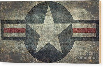 Us Air Force Roundel With Star Wood Print