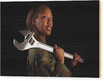 Us Air Force Senior Airman A Female Wood Print by Everett