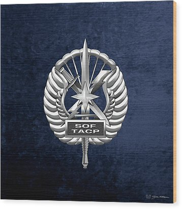 Wood Print featuring the digital art U.s. Air Force Tactical Air Control Party - Special Tactics Tacp Crest Over Blue Velvet by Serge Averbukh