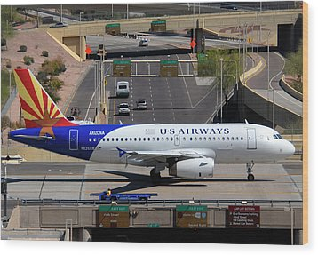 Us Airways Airbus A319-132 N826aw Arizona At Phoenix Sky Harbor March 16 2011 Wood Print by Brian Lockett