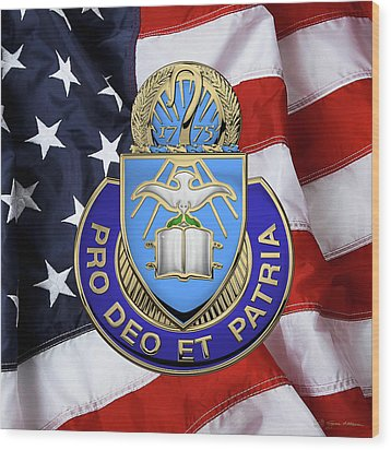 Wood Print featuring the digital art U.s. Army Chaplain Corps - Regimental Insignia Over American Flag by Serge Averbukh