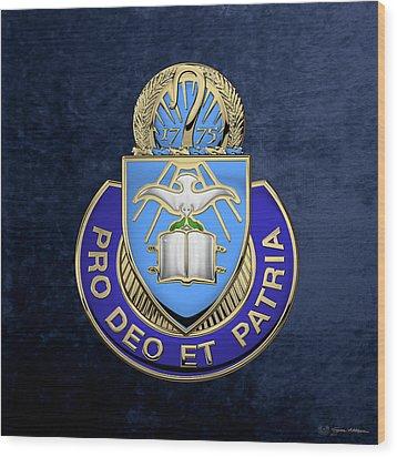 Wood Print featuring the digital art U. S. Army Chaplain Corps - Regimental Insignia Over Blue Velvet by Serge Averbukh