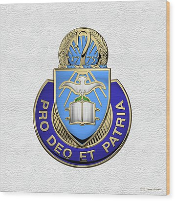 Wood Print featuring the digital art U.s. Army Chaplain Corps - Regimental Insignia Over White Leather by Serge Averbukh