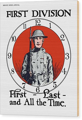 Wood Print featuring the painting Us Army First Division - Ww1 by War Is Hell Store