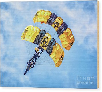 Wood Print featuring the photograph U.s. Army Golden Knights by Nick Zelinsky