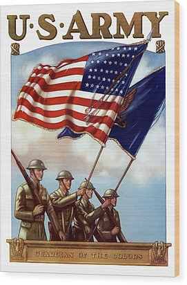 Us Army -- Guardian Of The Colors Wood Print by War Is Hell Store