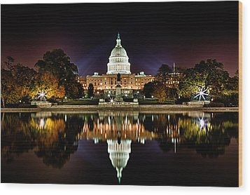Us Capitol Building And Reflecting Pool At Fall Night 1 Wood Print