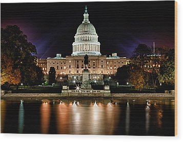 Us Capitol Building And Reflecting Pool At Fall Night 3 Wood Print by Val Black Russian Tourchin
