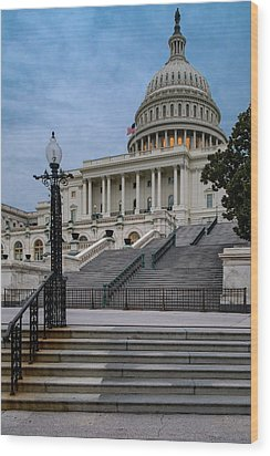 Wood Print featuring the photograph Us Capitol Building Twilight by Susan Candelario