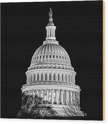 Us Capitol Dome In Black And White Wood Print