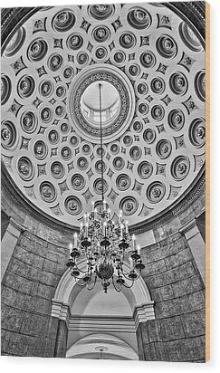 Wood Print featuring the photograph Us Capitol Rotunda Washington Dc Bw by Susan Candelario