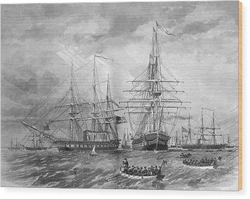 U.s. Naval Fleet During The Civil War Wood Print by War Is Hell Store