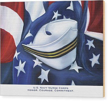 Wood Print featuring the painting U.s. Navy Nurse Corps by Marlyn Boyd