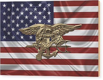 U.s. Navy Seals Trident Over U.s. Flag Wood Print