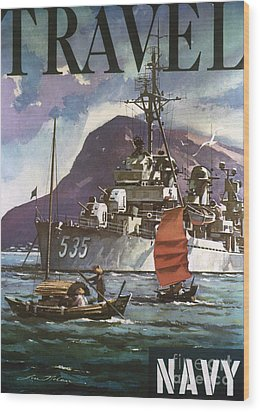 U.s. Navy Travel Poster Wood Print by Granger