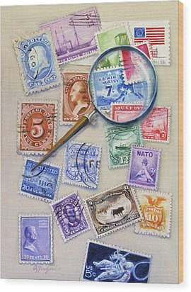 U.s. Stamp Collection Wood Print by Oz Freedgood