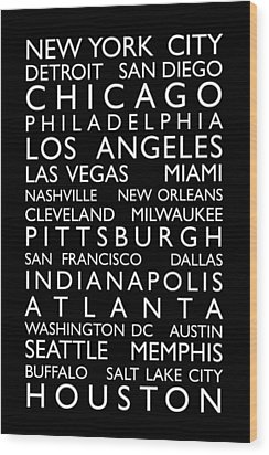 Usa Cities Bus Roll Wood Print by Michael Tompsett