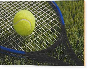 Usa, Illinois, Metamora, Tennis Racket And Ball On Grass Wood Print by Vstock LLC