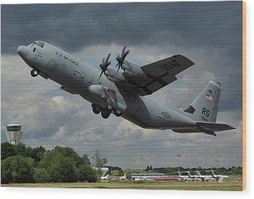 Wood Print featuring the photograph Usaf Lockheed-martin C-130j-30 Hercules  by Tim Beach