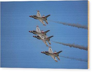 Wood Print featuring the photograph Usaf Thunderbirds by Rick Berk