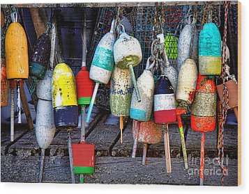 Wood Print featuring the photograph Used Lobster Trap Buoys by Olivier Le Queinec