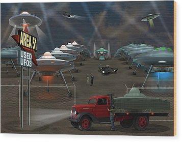 Area 51 Used U F O S Wood Print by Mike McGlothlen