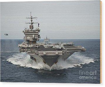 Uss Enterprise Transits The Atlantic Wood Print by Stocktrek Images