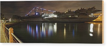 Wood Print featuring the photograph Uss Midway At Night by Nathan Rupert