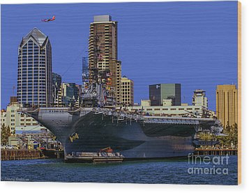 Uss Midway San Diego Ca Wood Print by Tommy Anderson