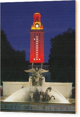 Ut Austin Tower Orange Wood Print by Lisa  Spencer