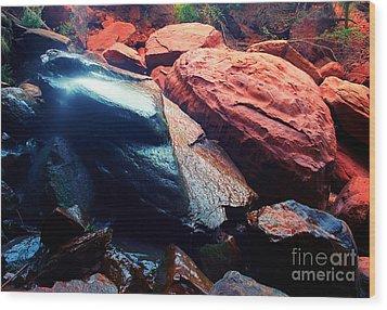Utah - Emerald Pool Boulders Wood Print