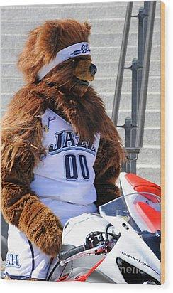 Utah Jazz Bear Wood Print by Dennis Hammer