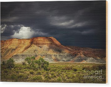 Utah Mountain With Storm Clouds Wood Print