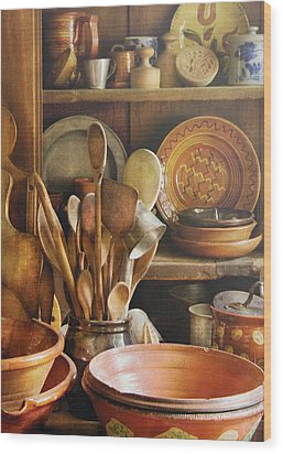 Utensils - Remembering Momma Wood Print by Mike Savad