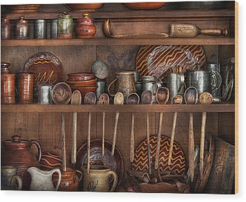 Utensils - What I Found In A Cabinet Wood Print by Mike Savad