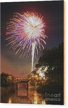 Wood Print featuring the photograph Utica Fireworks by Paula Guttilla