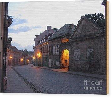 Uzupis Street. Old Vilnius. Lithuania. Wood Print by Ausra Huntington nee Paulauskaite