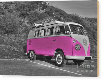 V-dub In Pink  Wood Print by Rob Hawkins