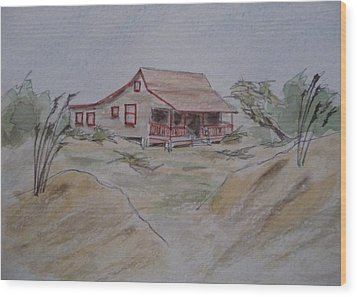 Wood Print featuring the painting Vacation Cottage - Kitty Hawk by Joel Deutsch
