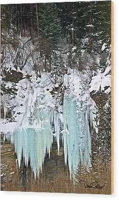 Vail Ice Falls Wood Print by David Salter